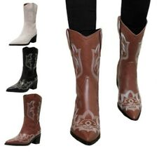 Europe Women Pumps Pull On Block Heel Pointy Toe Mid Calf Boots Outdoor 42/43 L