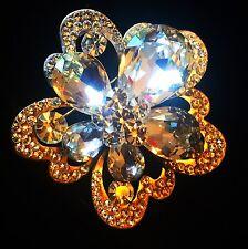 BROOCH PIN Using Swarovski Crystal Gemstone Wedding Bridal Gold Flower Clear 03