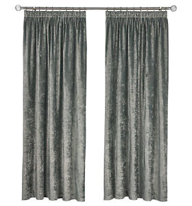 SILVER CHARCOAL CRUSHED VELVET PAIR TAPE TOP READY CURTAINS - MACHINE WASHABLE