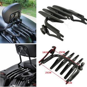 Black Detachable Stealth Luggage Rack For Harley Electra Street Road Glide 09-20