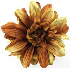 "4 1/2"" Variegated Brown Dahlia Silk Flower Brooch Pin, Wedding,Prom,Dance,Bridal"