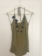 RIVER ISLAND halter cami top yellow black striped UK12 NEW W/T SUMMER CLUBBING