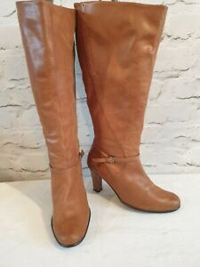 Essence Ex Ex Wide Leg Knee High Tan Boots 7 EE