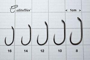 eliteflies Competition Black Nickel Barbless Wet fly hook fishing 16 14 12 10 8