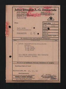 ZEULENRODA, Rechnung 1944, Julius Römpler AG Wellenverlängerungsnute