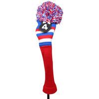 Majek Golf Red White Blue #4 Hybrid Pom Pom Knit Rescue Utility Club Head Cover