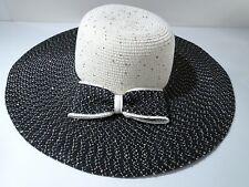 Cara New York Women's Cream Black Wide Brim Bow Straw Sun Hat NWT 150