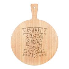 Vorsicht Crazy Cookie Boy Pizza Board Paddel Holz Witz Sohn Kinder