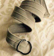 Unisex Cotton Fabric Weave Beige D Clasp Belt Szie S / M