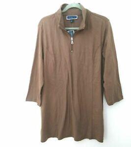 Karen Scott Women's Plus Beige 1/4 Zip Pullover Top Sweatshirt Knit Size 1X