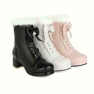 Hot Women Girls Block Heel Ankle Boots Ladies Zipper Chunky Casual Boots Shoes D