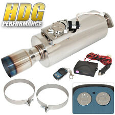 """Electric Remote Sound Control Inlet 2.5"""" Outet 4"""" Tip Exhaust Muffler Silencer"""