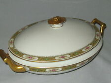 Limoges Oval Serving Dish w Cover A. LANTERNIER ca 1918 - Band Gold, Rose, Green