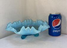 Vtg Fenton? Blue Glass Opalescent Ruffled Rim WEDDING RINGS Bon Bon Candy Dish