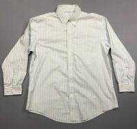 Men's Brooks Brothers Regent Green Blue Striped Button Front Up Polo Shirt Sz XL