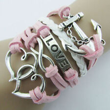 Pink Braided Leather Bracelet Anchor Love Friendship Charm Wrap plated Silver