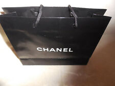 """CHANEL Gift Wrap Paper BAG Black Glossy &White lettering Small 7-1/4""""X8-1/2""""X2.5"""