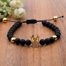 Cubic Zircon Gold Plated Crown Bracelet Bead Macrame Fashion Unisex Bracelet