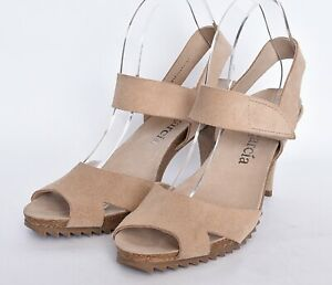 Pedro Garcia Spain Womens Leather Suede Nude Open Toe High Heel Sandals Sz 41 11