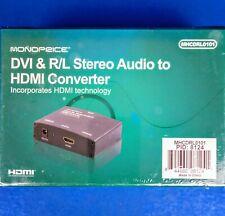 Monoprice DVI & R/L Stereo Audio To HDMI Converter - MHCDRL0101 - NEW