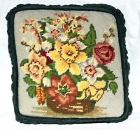 Vintage Multi Color Flowers Needlepoint Pillow with Green Velour Size 8.25