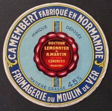 Etiquette fromage CAMEMBERT DU MOULIN DE VER French cheese label