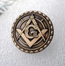 ZP476 Round Freemason Masonic lapel pin badge G Geometry Square Compass