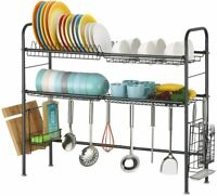 2 Tier Cutlery Drying Rack Drainer Stainless Steel Kitchen Adjustable Bowl Rack
