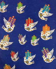 Jewish Judaica Fabric Dove of Peace on Blue