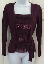 Apt. 9 Petite Plum Purple Thin Knit Top SZ PS Ruffle Sequin Front Ties Stretchy