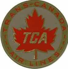 Vintage Airline Luggage Label TRANS-CANADA AIRLINES TCA gold foil maple leaf