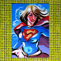 Supergirl original painting 1/1 signed sketch card