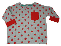 Ex Mini Boden Girls Top T-shirt cropped loose style Apple Print age 2-12  NEW
