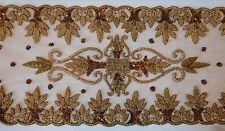 6 Ft Table Runner Sequins Beads on Nude Net Fabric Gold Copper Brown $95 New