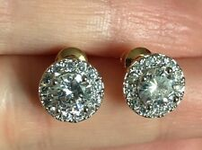 18K / 18ct Yellow Gold 2.15 Carat Diamond Cluster Stud Earrings