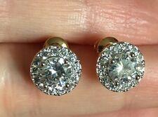 18K Yellow Gold 2.15 Carat Diamond Cluster Stud Earrings