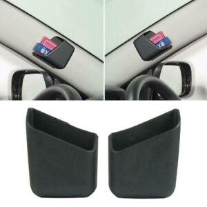 2Pcs Car Black Pen Card Phone Organizer Storage Box Holder Accessories Universal