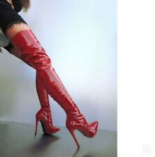 Sexy Women Over Knee High Thigh Boots Stilettos Pointy Toe Side Zip Shoes 35-47