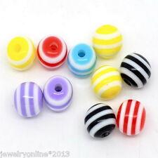 100 Mix Mehrfarbig Gestreift Oval Harz Spacer Perlen Beads 6mm