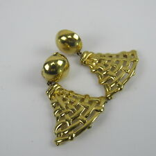 Monet Earrings Clamp Gold Tone Christmas Tree Holiday Vintage Jewelry
