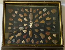 Antique Native American Indian Arrowheads Framed; Quantity 60 & Lot #2
