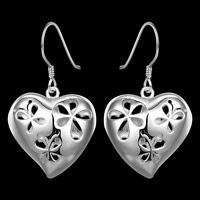 Stunning 925 Sterling Silver Filled Hollow Filigree Heart Flower Hook Earrings