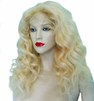 HUMAN HAIR Indian Remi Remy Full Lace Wig Blonde Wavy Body Wave Long Premium
