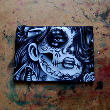 Cosmetic Bag Small Clutch Makeup Case Tattoo Flash Art Sugar Skull Girl Drawing