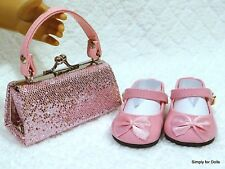 """2pc PINK sparkle DOLL SHOES & Clasp PURSE SET fit 18"""" AMERICAN GIRL"""