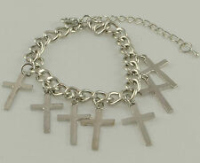 SILVERTONE CHUNKY METAL CHAIN AND CROSS CHARMS BRACELET