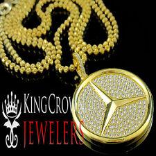 Mens Real Silver Lab Diamond Mini Pendant Medallion & Bead Ball Chain Necklace
