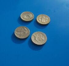 Monedas raras £ 1 lb (approx. 0.45 kg) Reino Unido puentes completo conjunto de cuatro-principalmente condición en muy buena condición