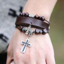 Brown Leather Christian Cross Beaded Bracelet Wristband Men