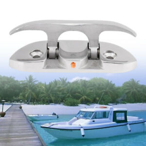 Folding Boat Cleat 4-1/2 inch Marine Stainless Steel Dock Line Tie Down Cleat